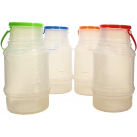 Plastic Milk Container with Handle and Lid 1000 ml (50 Units)