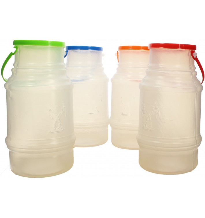 Plastic Milk Container with Handle and Lid 1000 ml (10 Units)