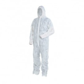 """Disposable Plastic Coverall """"TST"""" PP Hood Hook-and-loop fastener Size XXL White (1 Unit)"""