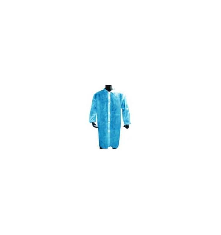 Disposable Lab Coat PE Closure Button Blue (1 Unit)