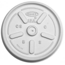 Plastic Lid PS for Foam Cup Flat Ø8,9cm (100 Units)