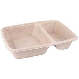 Sugarcane Container 2 Compartments 800ml 23x16,5x5cm (75 Units)