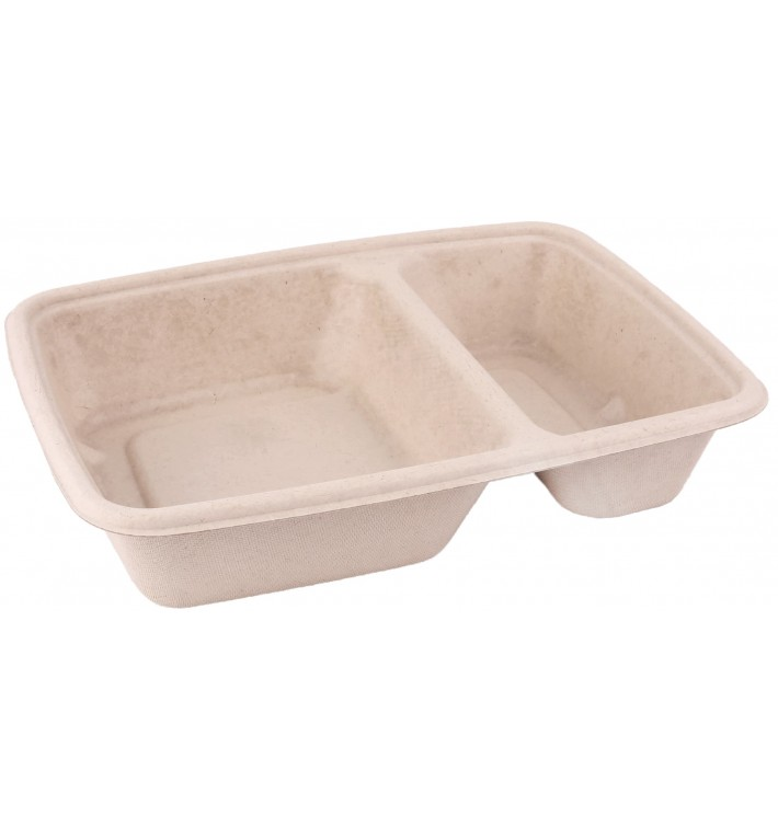 Sugarcane Container 2 Compartments 800ml 23x16,5x5cm (300 Units)