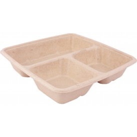Sugarcane Container 3 Compartments 900ml 23x23x4cm (300 Units)