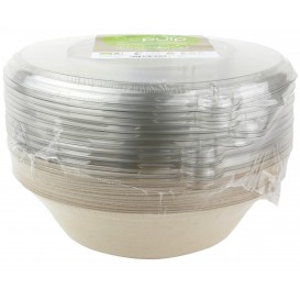 Sugarcane Bowl with Lid 1000ml Ø21x6cm (90 Units)