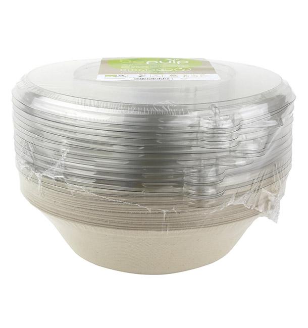 Sugarcane Bowl with Lid 1000ml Ø21x6cm (90 Units)