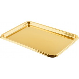 Plastic Tray Rectangular Shape Gold 35x24 cm (50 Uds)