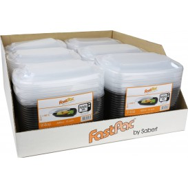 Plastic Deli Container with Lid PP Black 600ml 23x17x6cm (90 Units)