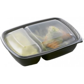 Plastic Deli Container with Lid PP Black 2C 900ml 23x16,5x7cm (90 Units)