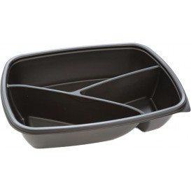 Plastic Deli Container PP 3C Black 900ml 23x17x5cm (300 Units)