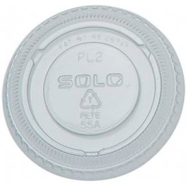 Plastic Lid PET Crystal Closed Flat Ø6,6cm (100 Units)