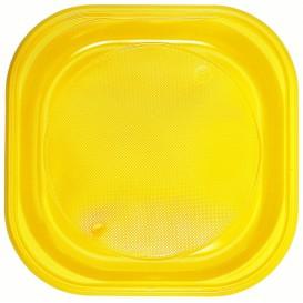 Plastic Plate PS Square shape Yellow Ø20x20 cm (30 Units)