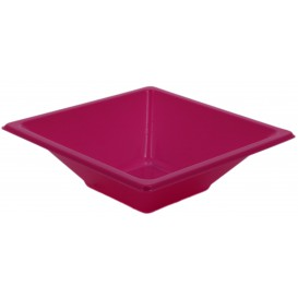 Plastic Bowl PS Square shape Fuchsia 12x12cm (25 Units)
