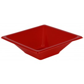 Plastic Bowl PS Square shape Red 12x12cm (25 Units)