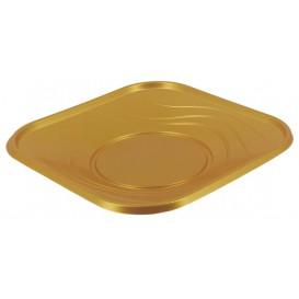 """Plato de Plastico PP """"X-Table"""" Cuadrado Oro 180mm (120 Uds)"""