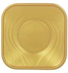 "Plastic Plate PP ""X-Table"" Square shape Gold 23 cm (120 Units)"