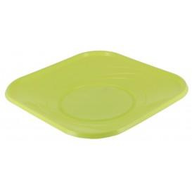 "Plastic Plate PP ""X-Table"" Square shape Lime 23 cm (8 Units)"