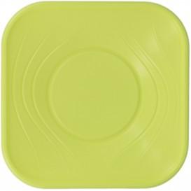 "Plastic Bowl PP Square shape ""X-Table"" Lime 18x18cm (120 Units)"