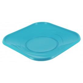 "Plato de Plastico PP ""X-Table"" Cuadrado Turquesa 180mm (8 Uds)"