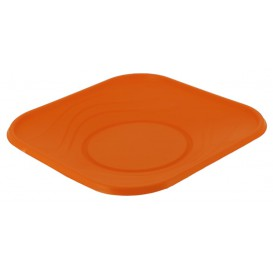 "Plastic Plate PP ""X-Table"" Square shape Orange 18 cm (8 Units)"
