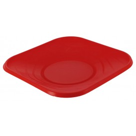 "Plastic Plate PP ""X-Table"" Square shape Red 23 cm (120 Units)"