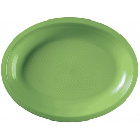 Plastic Platter Microwavable Oval Shape Lime Green 22,5x19 cm (600 Units)