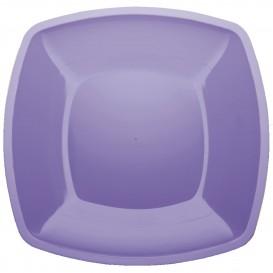 Plastic Plate Flat Lilac Square shape PS 30 cm (12 Units)