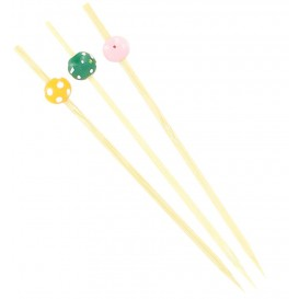 "Bamboo Food Pick Pack ""Punteado"" Design 12cm (200 Units)"