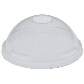 Plastic Dome Lid with Hole PET Crystal Ø9,2cm (100 Units)