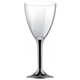Plastic Stemmed Glass Wine Niquel Chrome Removable Stem 300ml (40 Units)