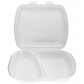 Foam Lunch Box 2 Compartments White 2,40x2,10x0,70cm (125 Units)