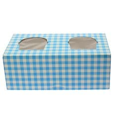 Paper Cupcake Box 2 Slots Blue 19,5x10x7,5cm (160 Units)