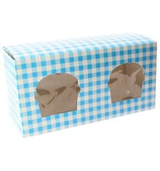 Paper Cupcake Box 2 Slot Blue 19,5x10x7,5cm (20 Units)