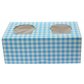 Paper Cupcake Box 2 Slot Blue 19,5x10x7,5cm (20 Units)