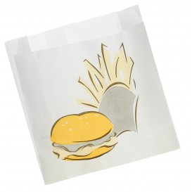 Paper Food Bag Grease-Proof Burger Design 15+5x16cm (100 Units)