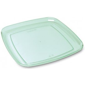 Plastic Tray Square Shape Hard Clear 35x35cm (25 Uds)