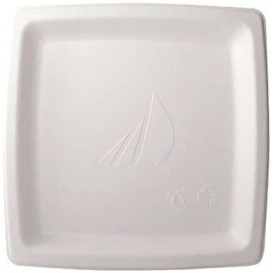 Sugarcane Plate Square shape White 17 cm (1000 Units)