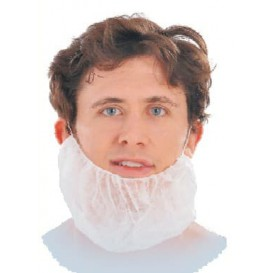 "Disposable Beard Cover ""TST"" PP White (100 Units)"