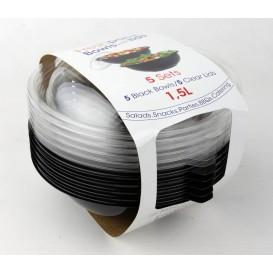 Plastic Bowl PET with Lid Black 1500ml Ø23cm (5 Units)