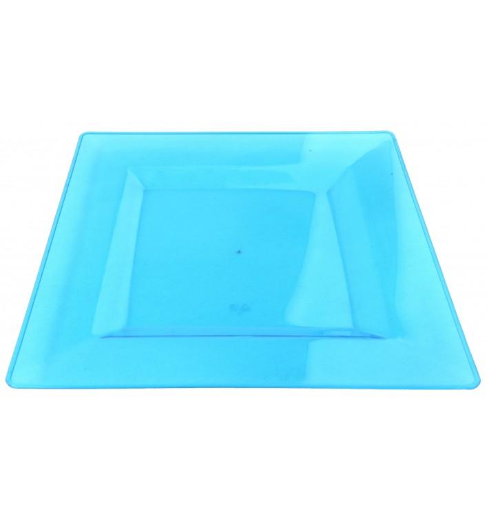 Plastic Plate Square shape Extra Rigid Turquoise 20x20cm (88 Units)