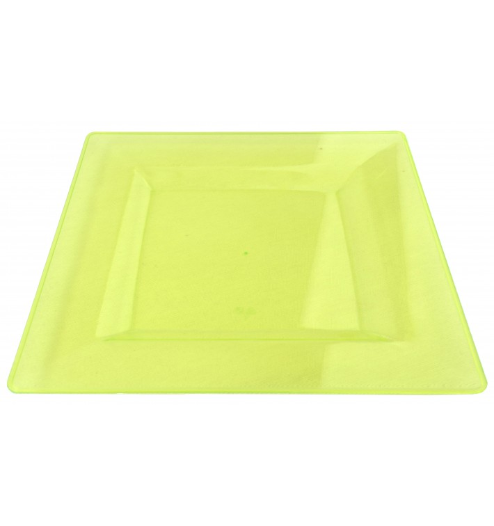Plastic Plate Square shape Extra Rigid Green 20x20cm (4 Units)