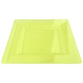 Plastic Plate Square shape Extra Rigid Green 20x20cm (88 Units)