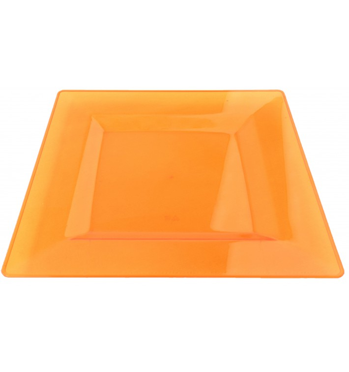 Plastic Plate Square shape Extra Rigid Orange 20x20cm (4 Units)