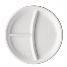 Plastic Plate PS 3 Compartments White 22 cm (100 Units)