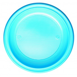 Plastic Plate PS Deep Light Blue Ø22 cm (30 Units)