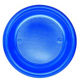 Plastic Plate PS Flat Dark Blue Ø22 cm (30 Units)