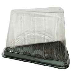 Plastic Cake Slice Container Clear Black Base (50 Units)