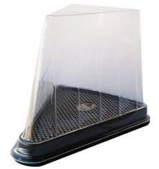 Plastic Cake Slice Container Clear Black Base (300 Units)