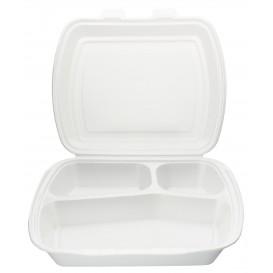 Foam Lunch Box 3 Compartments 2,40x2,10x0,70cm (125 Units)