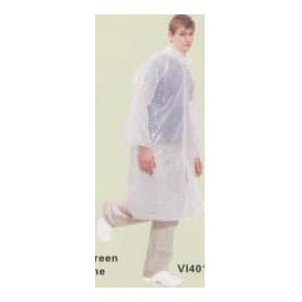Disposable Lab Coat PE with Closure Button White (100 Units)